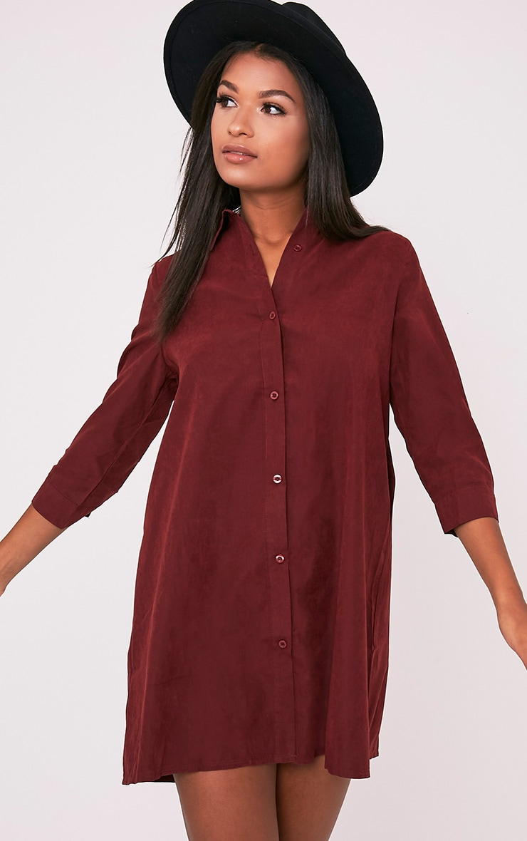 Leni Burgundy Shirt Dress 1