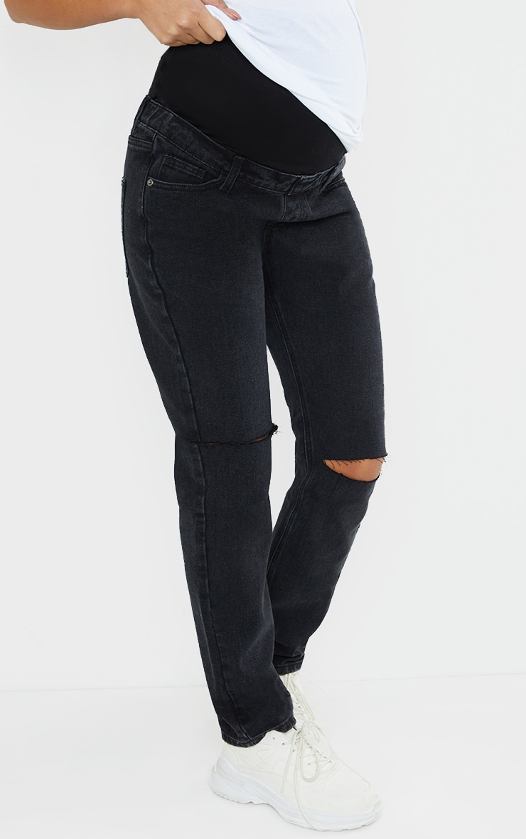 Maternity Washed Black Knee Rip Straight Leg Jeans 2