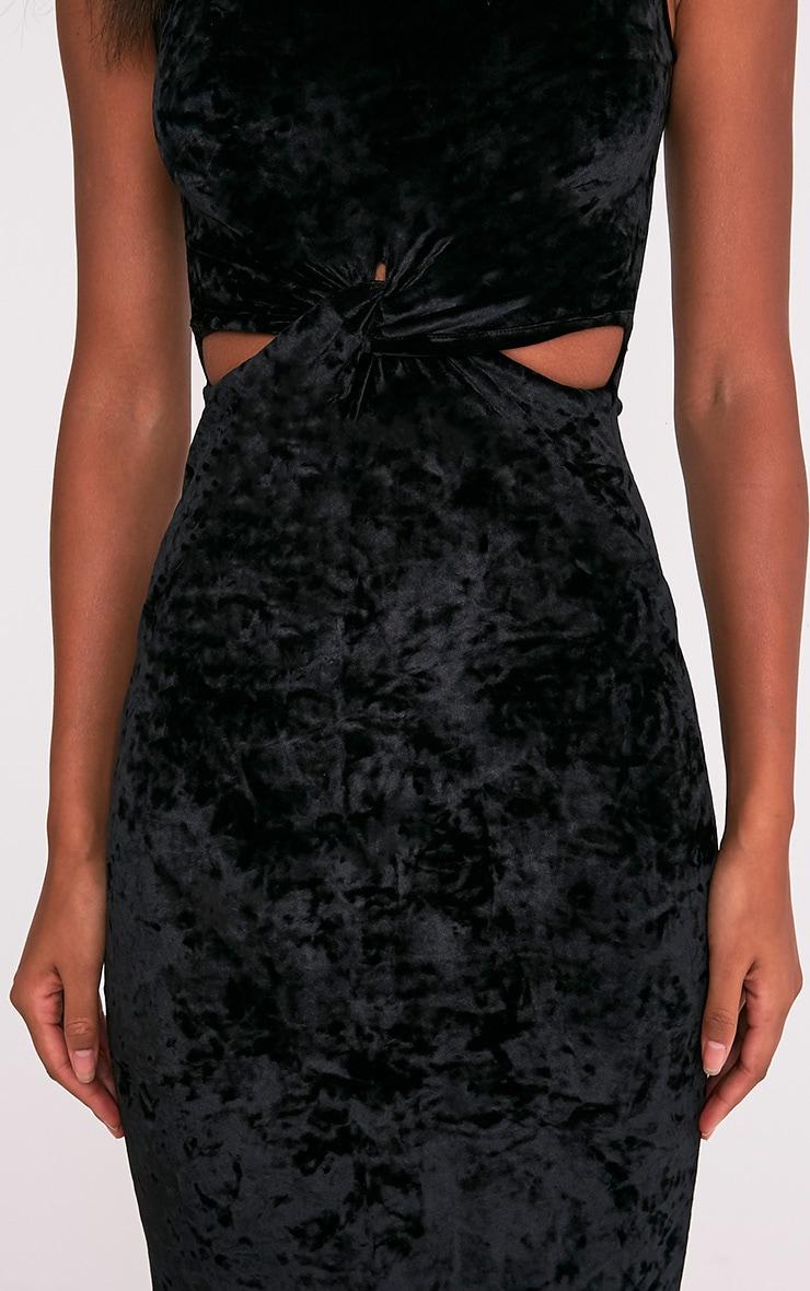 Jaydiah Black Crushed Velvet Cut Out Maxi Dress 6