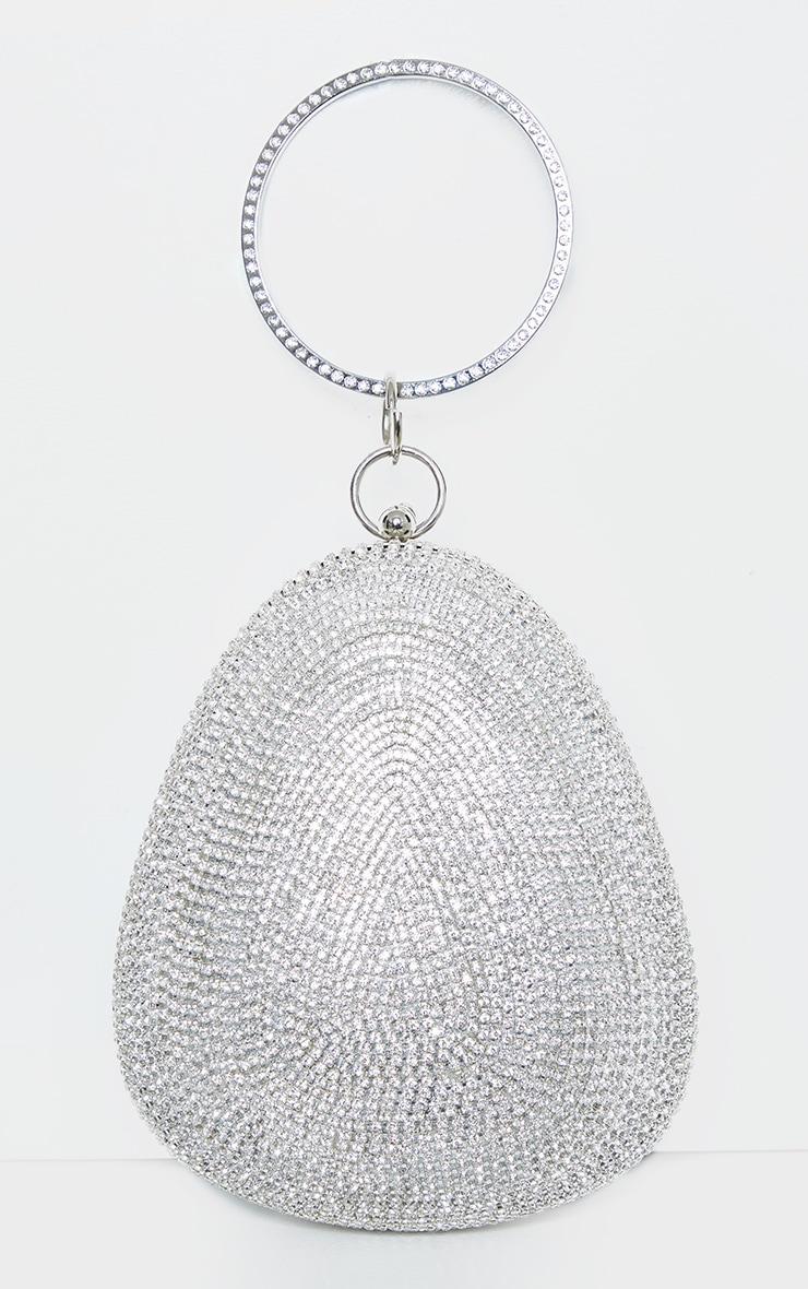 Silver Diamante Oval Bag 2
