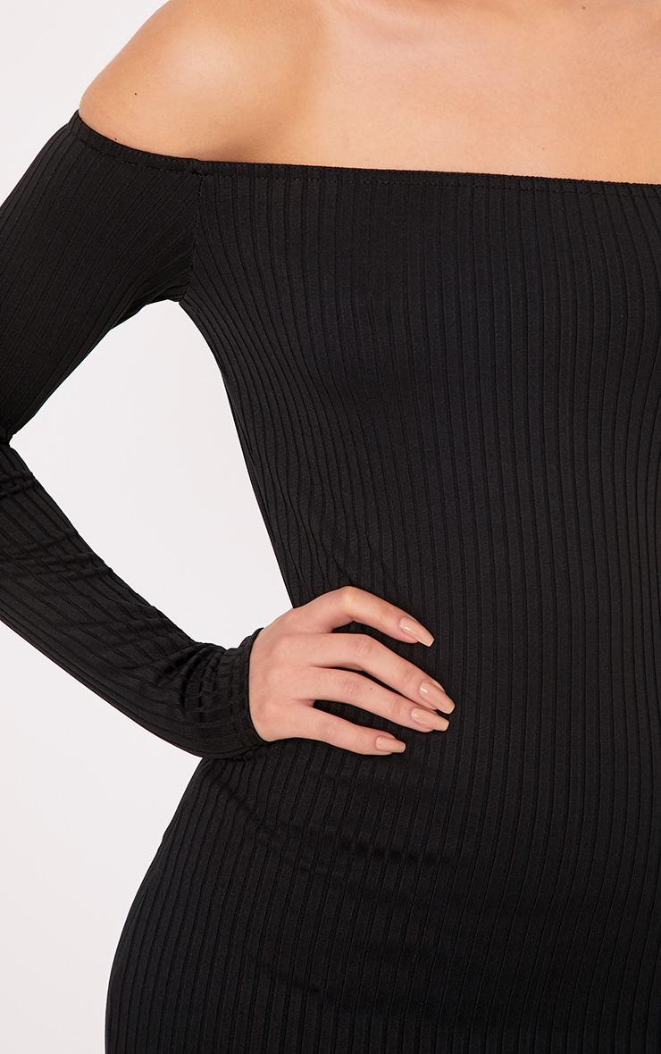 Fionah Black Ribbed Bardot Bodycon Dress 5