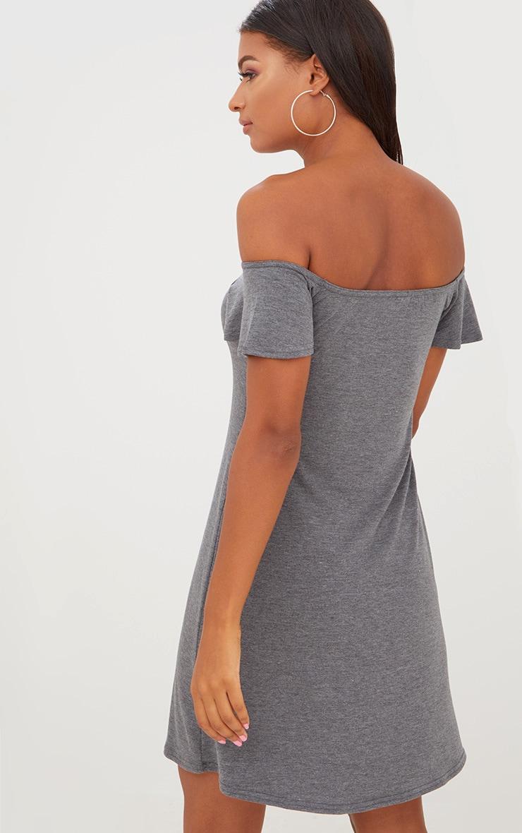 Manina Charcoal Jersey Bardot Shift Dress 2