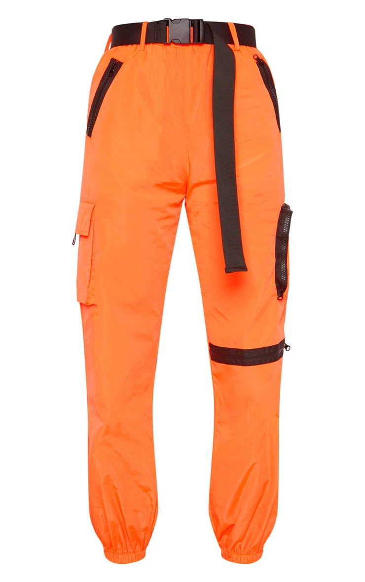 Neon Orange Shell Belted Pocket Detail Joggers 3