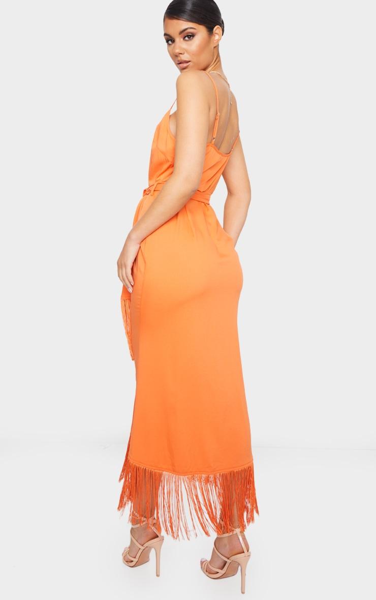 Bright Orange Tassel Detail Strappy Tie Waist Midi Dress 2