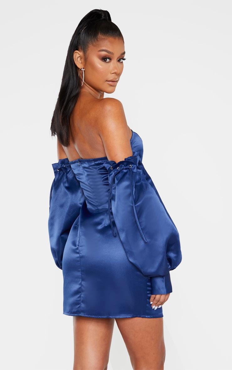 Midnight Blue Satin Bardot Lace Sleeve Bodycon Dress 2