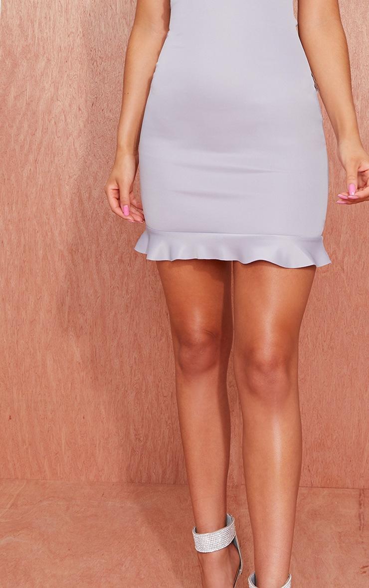 Grey Cup Detail Frill Hem Bandeau Bodycon Dress 3
