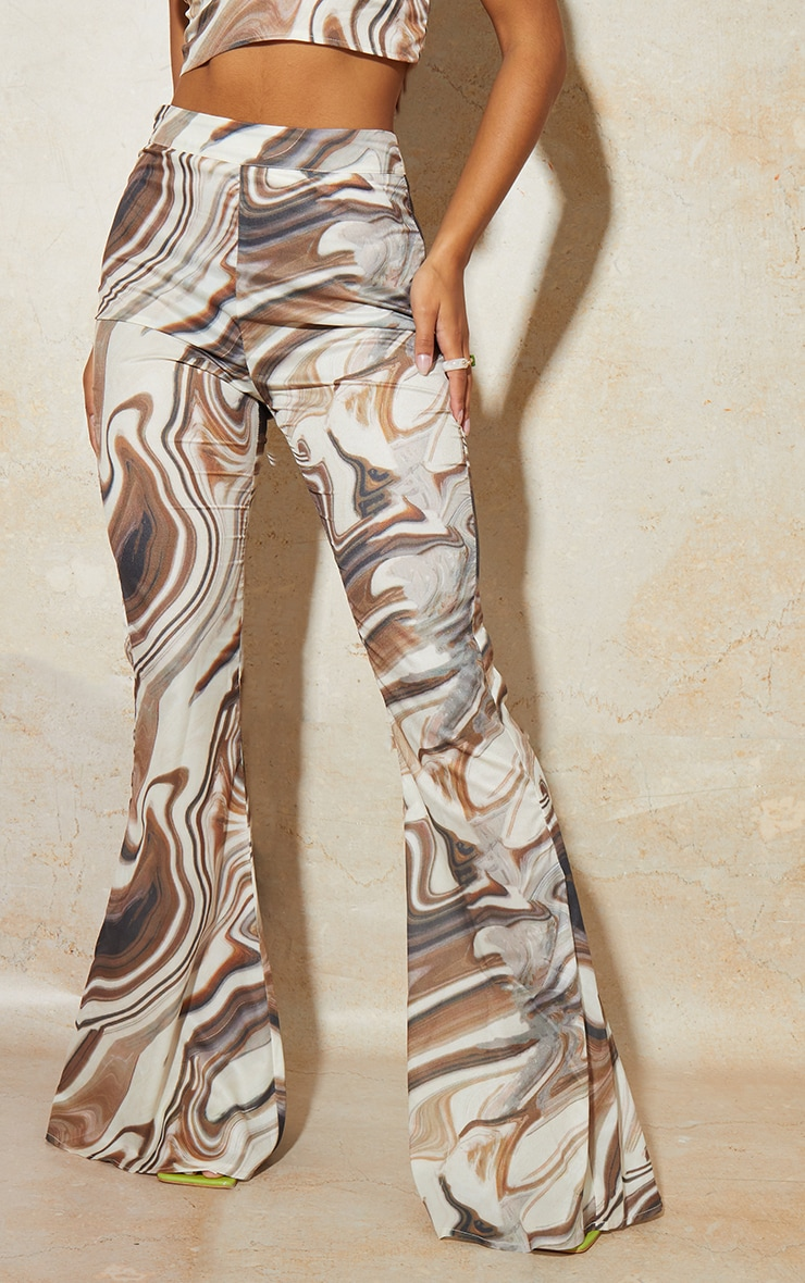 Brown Marble Print Woven High Waisted Flare Trousers 2