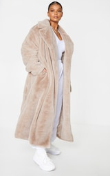 Plus Taupe Belted Faux Fur Coat 3
