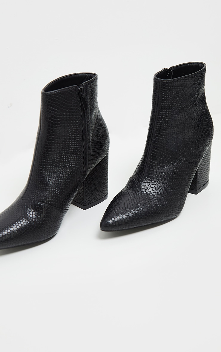 Black Low Block Heel Point Ankle Boot 3