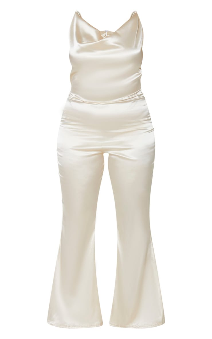 Plus Champagne Cowl Neck Satin Flared Jumpsuit 3