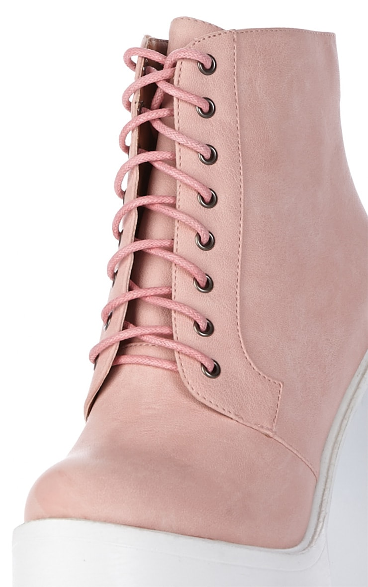 Wesley Pink Chunky Lace Up Boots 4