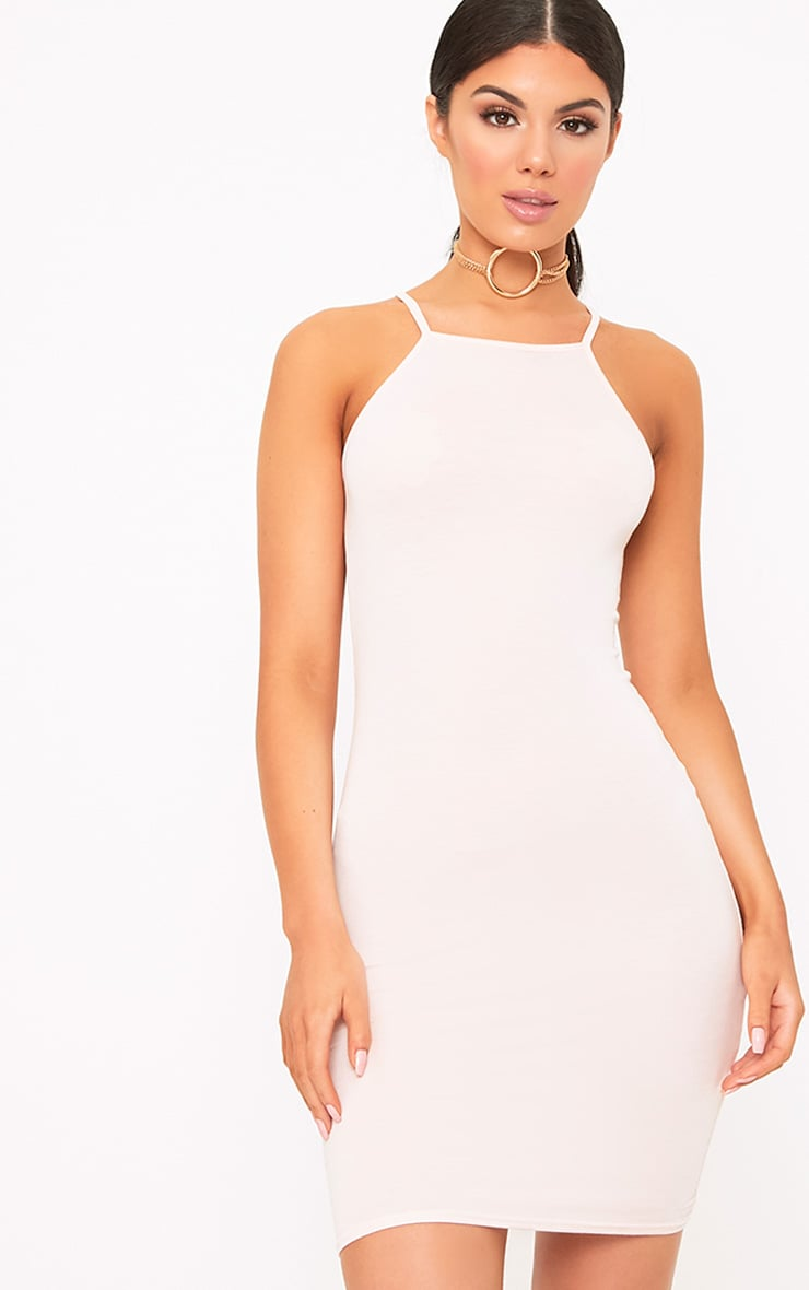 Basic Nude Jersey High Neck Bodycon Dress 3