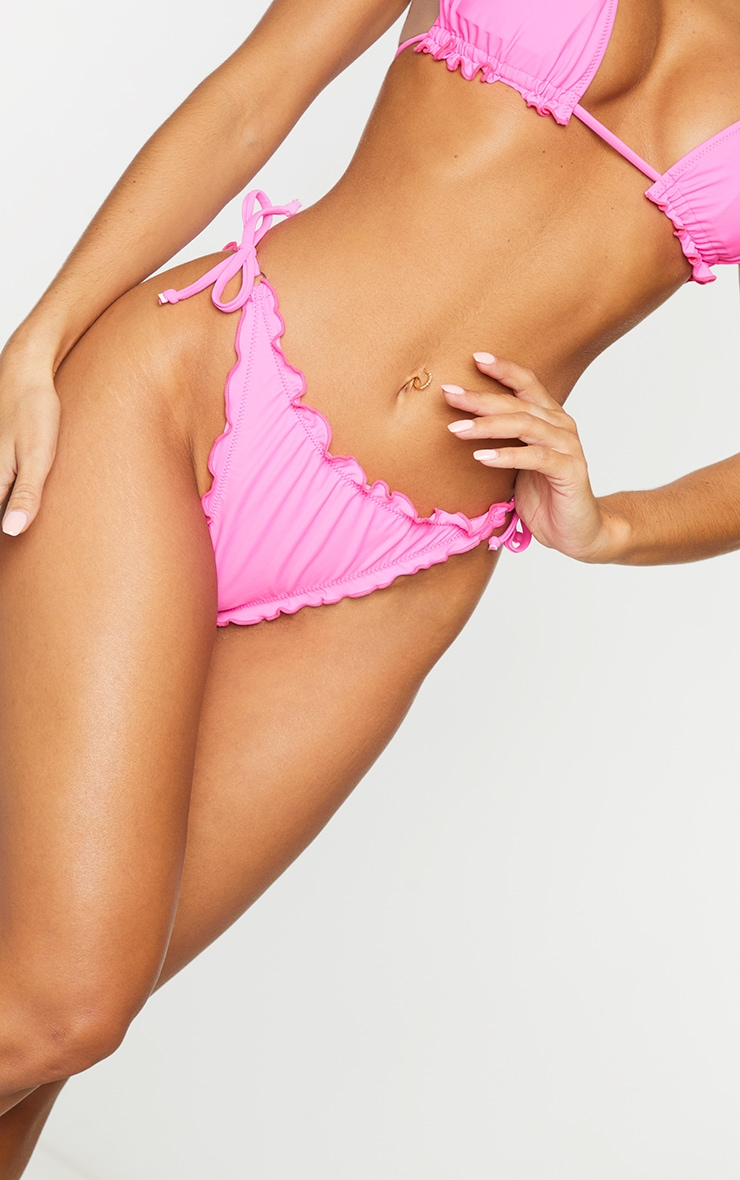 Hot Pink Frill Edge Ruched Back Bikini Bottoms 5
