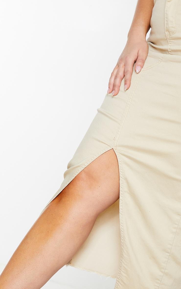 Plus Ecru Denim Split Hem Midaxi Skirt 4
