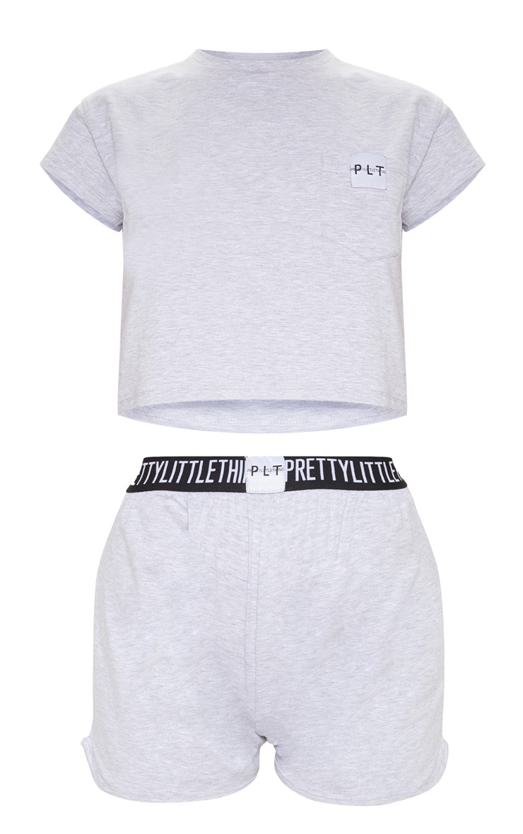 PRETTYLITTLETHING Grey PJ T Shirt And Boxer Short Set 3