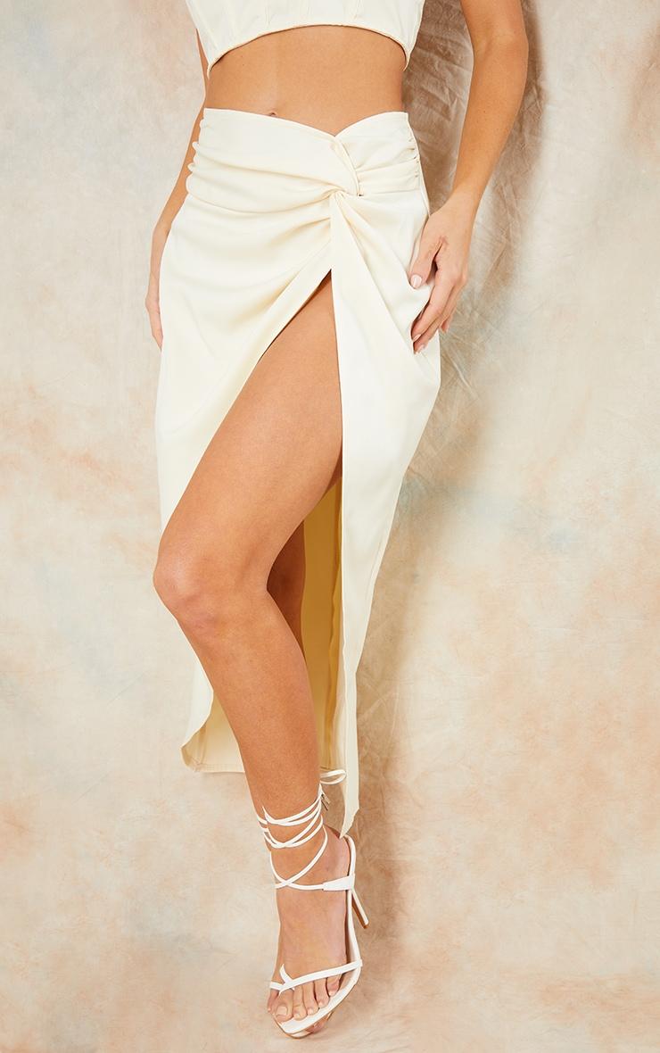Cream Woven Knot Waist Split Leg Midaxi Skirt 2