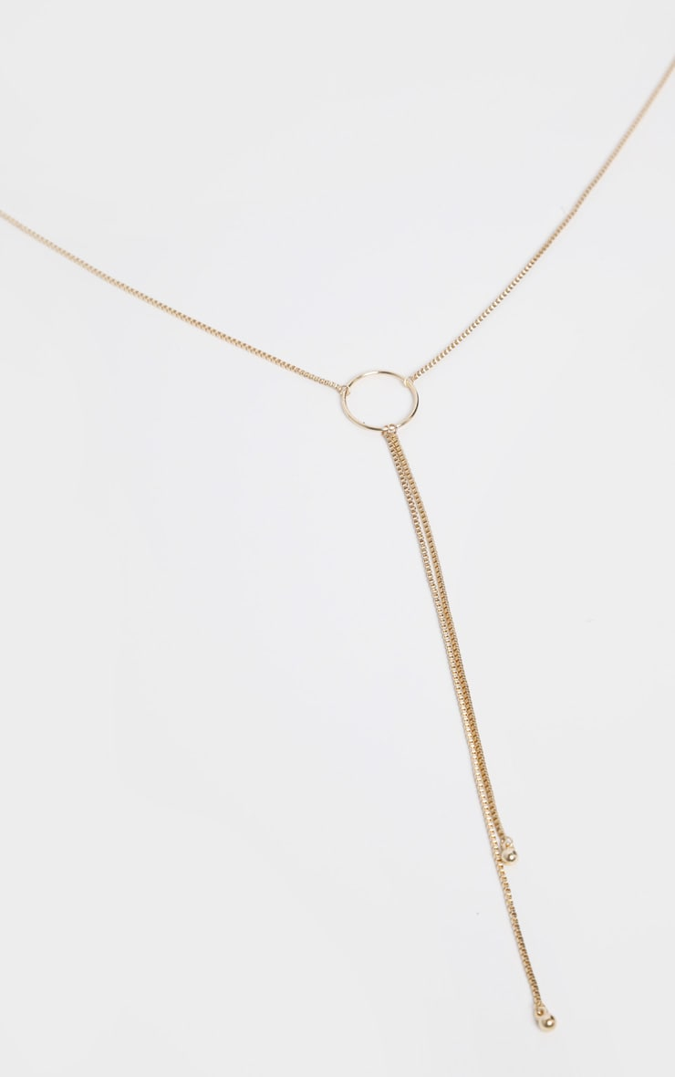 Gold Hoop Chain Drop Lariat Necklace  3