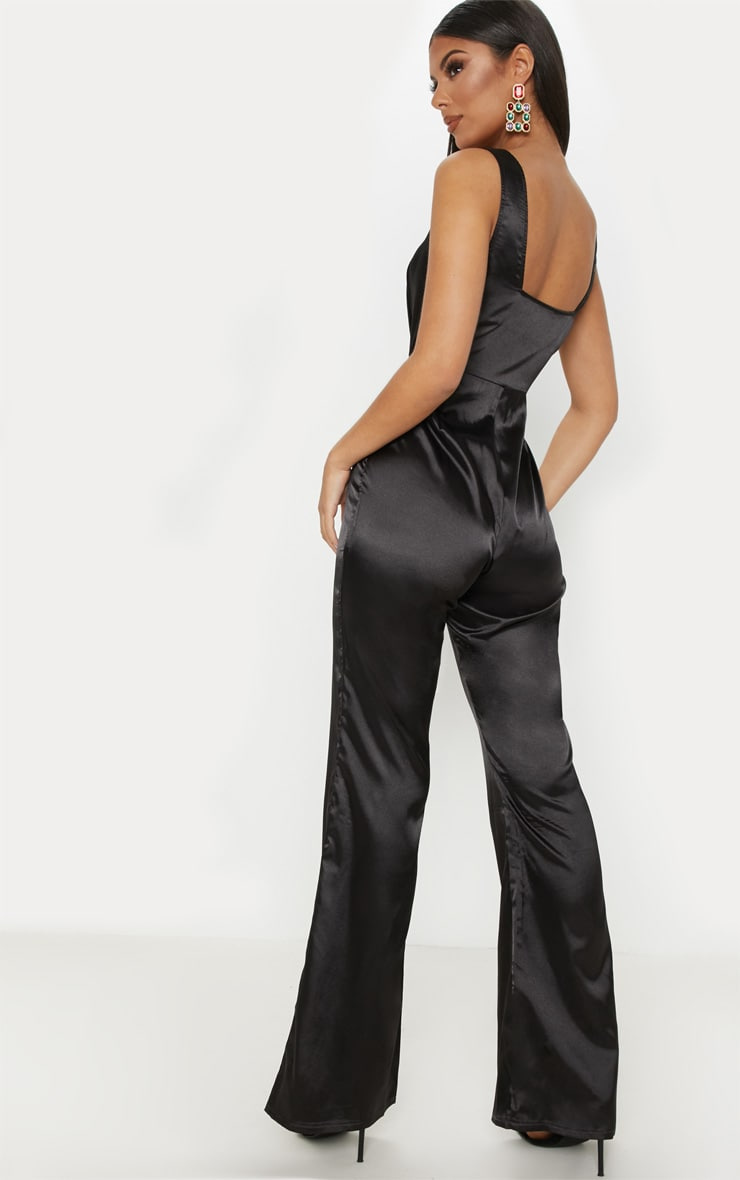 Black Satin V Bar Wide Leg Jumpsuit 2