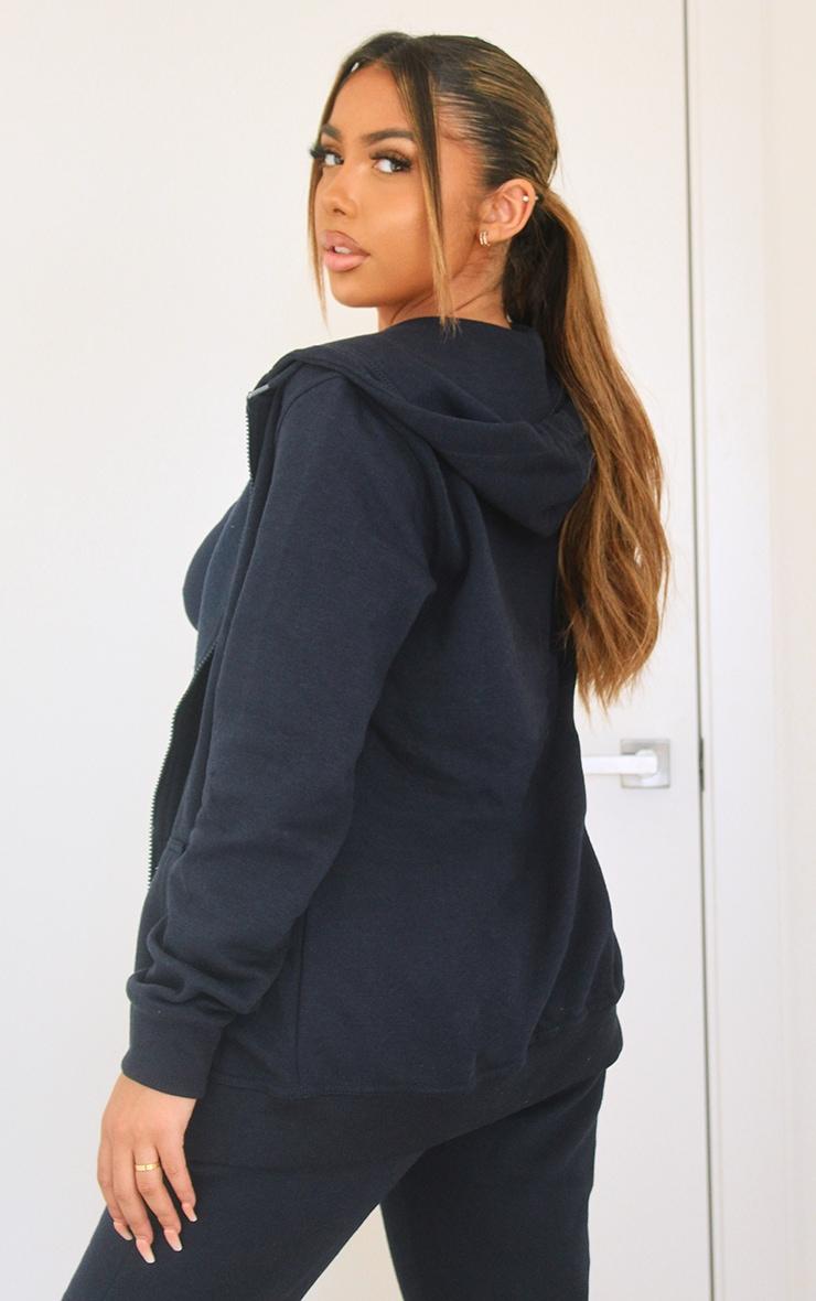 Hoodie zippé noir à poches 2