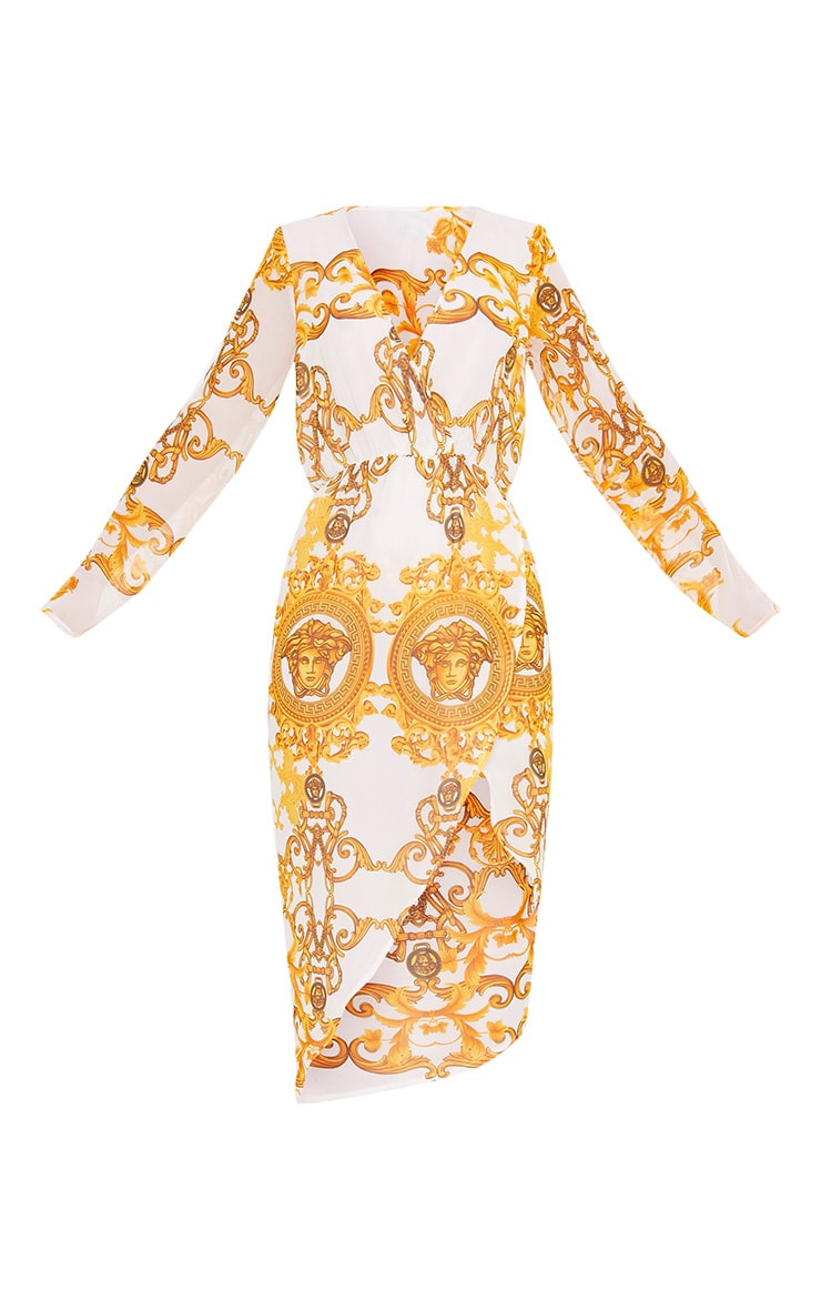 Ursie Gold Printed Midi Dress 3