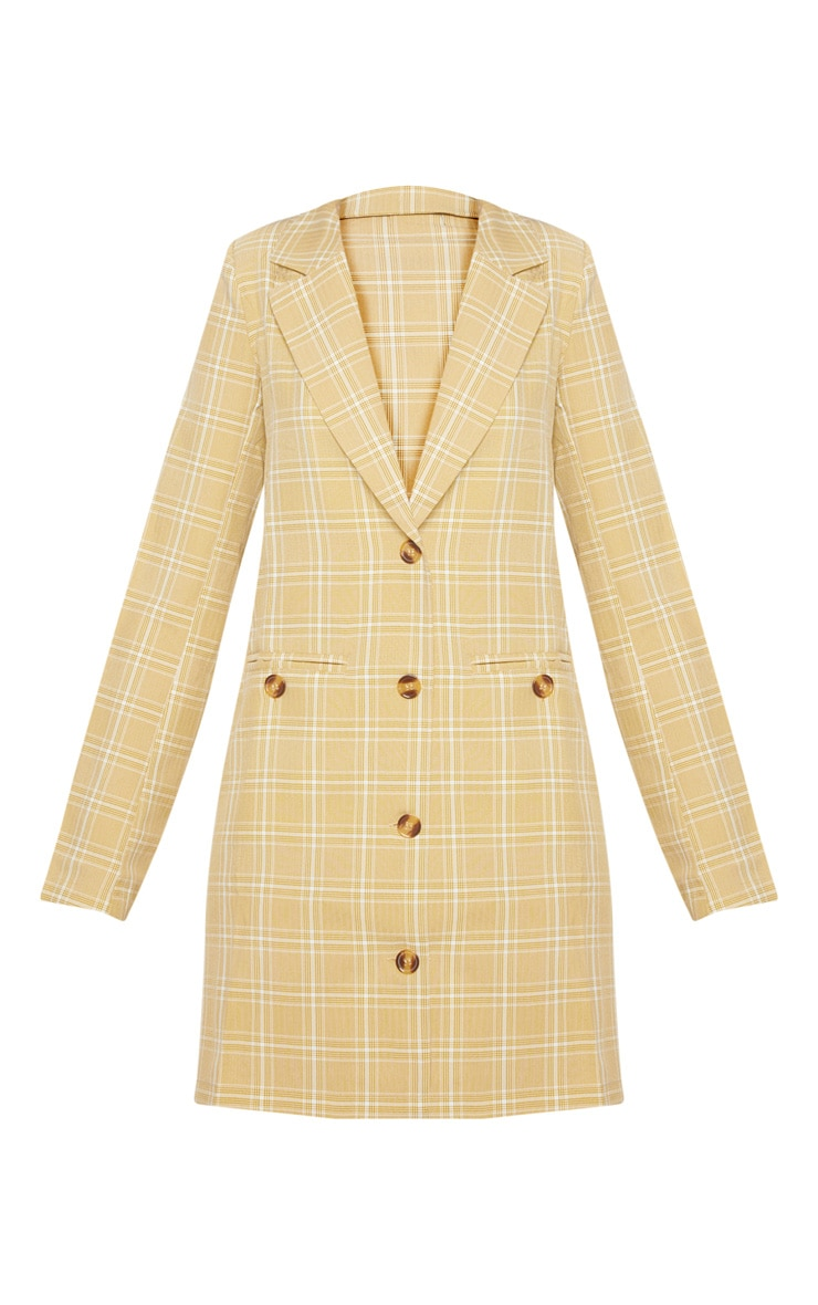 Beige Check Print Tortoise Button Blazer Dress 3