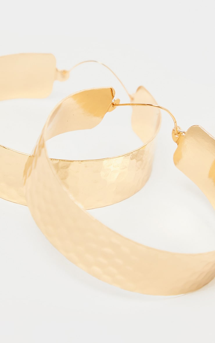 Gold Textured Wide Flat Hoops 3