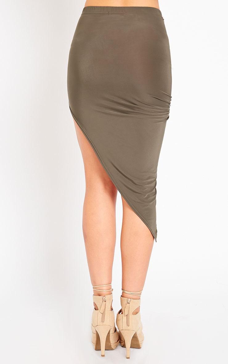 Alba Khaki Slinky Drape Skirt 4