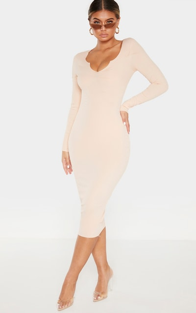 ab5f69adde6 Nude Raw Edge Long Sleeve Rib Midi Dress