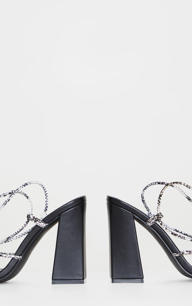 Black Snake Knot Toe Thong Strappy Block Heel Sandal 4
