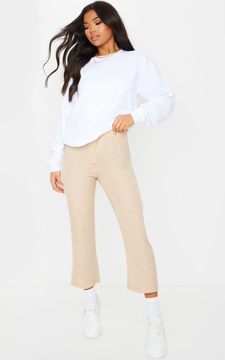 Taupe Gingham Straight Leg Crop Trousers 1