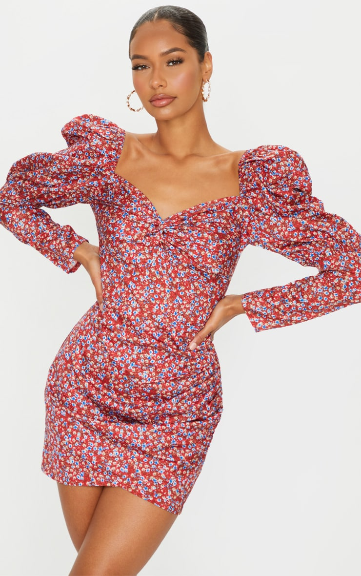 Burgundy Floral Puff Sleeve Twist Detail Bodycon Dress 1