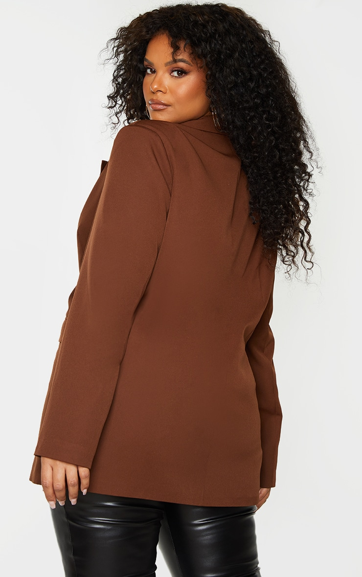 Plus Chocolate Brown Double Breasted Blazer 2