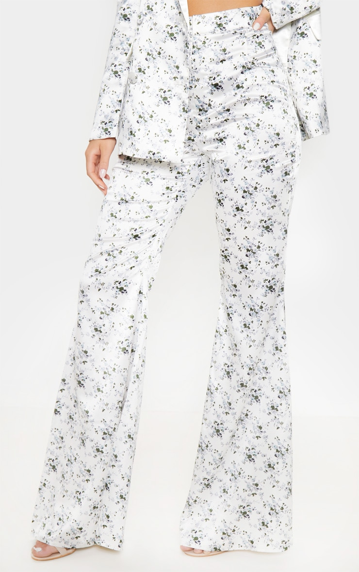 White Ditsy Floral Print Tailored Extreme Flared Pants 2