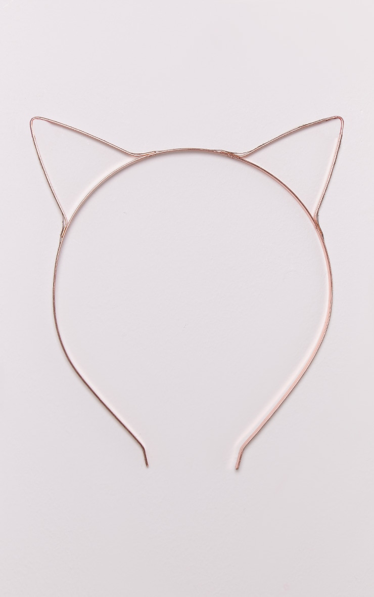 Rose Gold Metal Cat Ears Headband 3