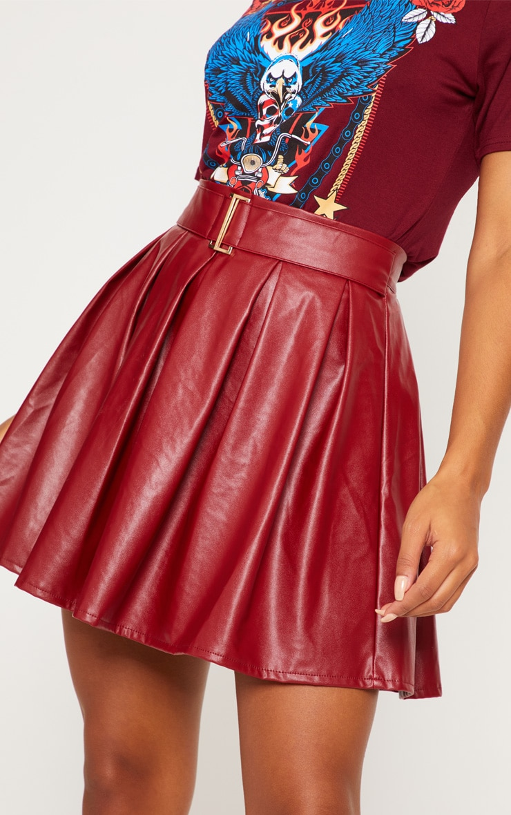 Burgundy Belted Faux Leather Pleated Mini Skirt 6