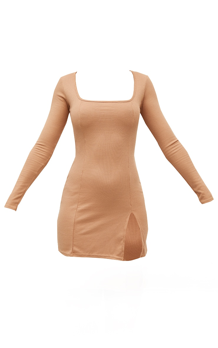 Camel Rib Split Hem Square Neck Long Sleeve Bodycon Dress 5