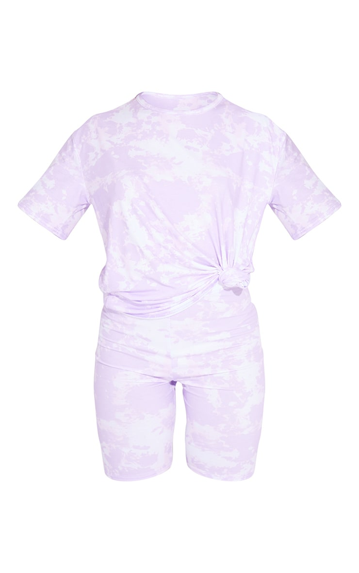 Lilac Tie Dye Oversized Tee And Cycling Short Lounge Set 5