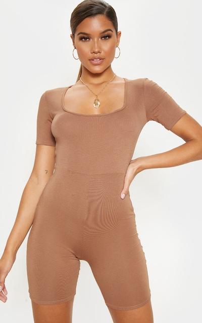 Camel Basic Short Sleeve Square Neck Unitard