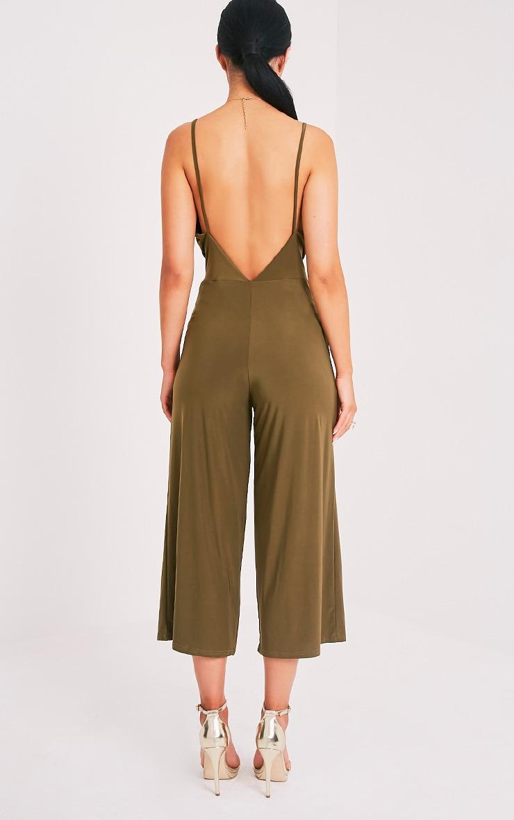 Sofia Khaki Scoop Front Cullotte Slinky Jumpsuit 2