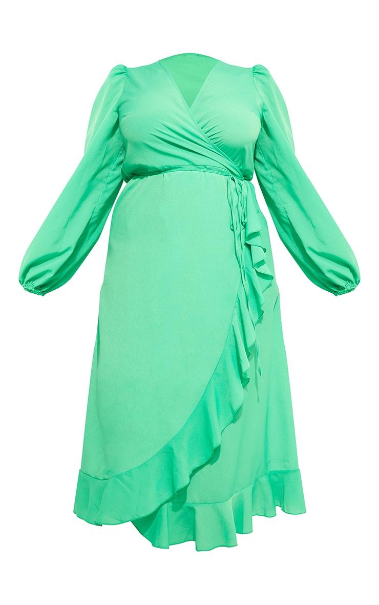 Plus Bright Green Ruffle Wrap Front Midi Dress 5