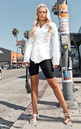 White Lace Up Corset Shirt 4
