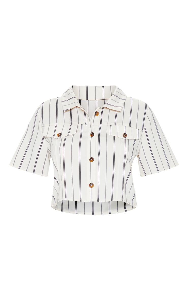 Petite Stone Stripe Cropped Shirt 3