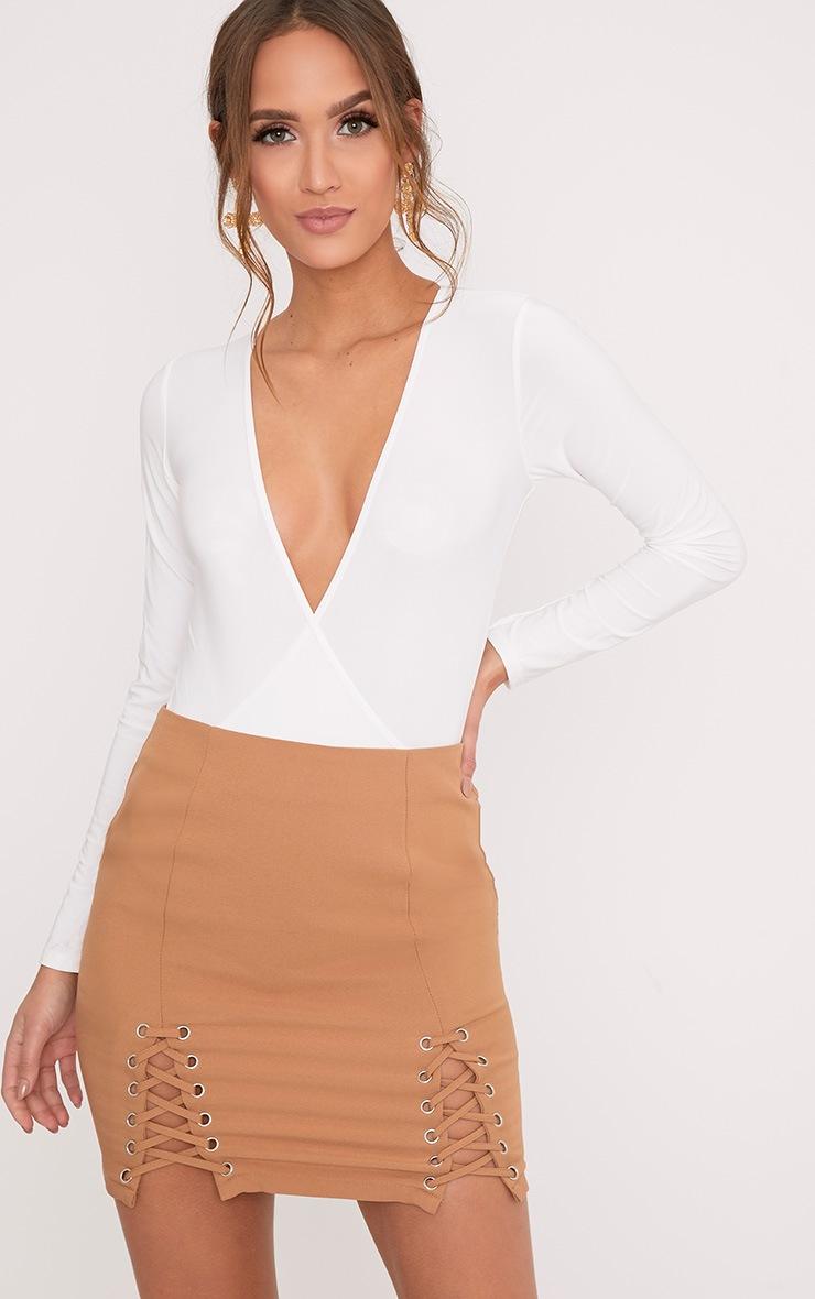 Sadie Cream Slinky Wrap Bodysuit 1