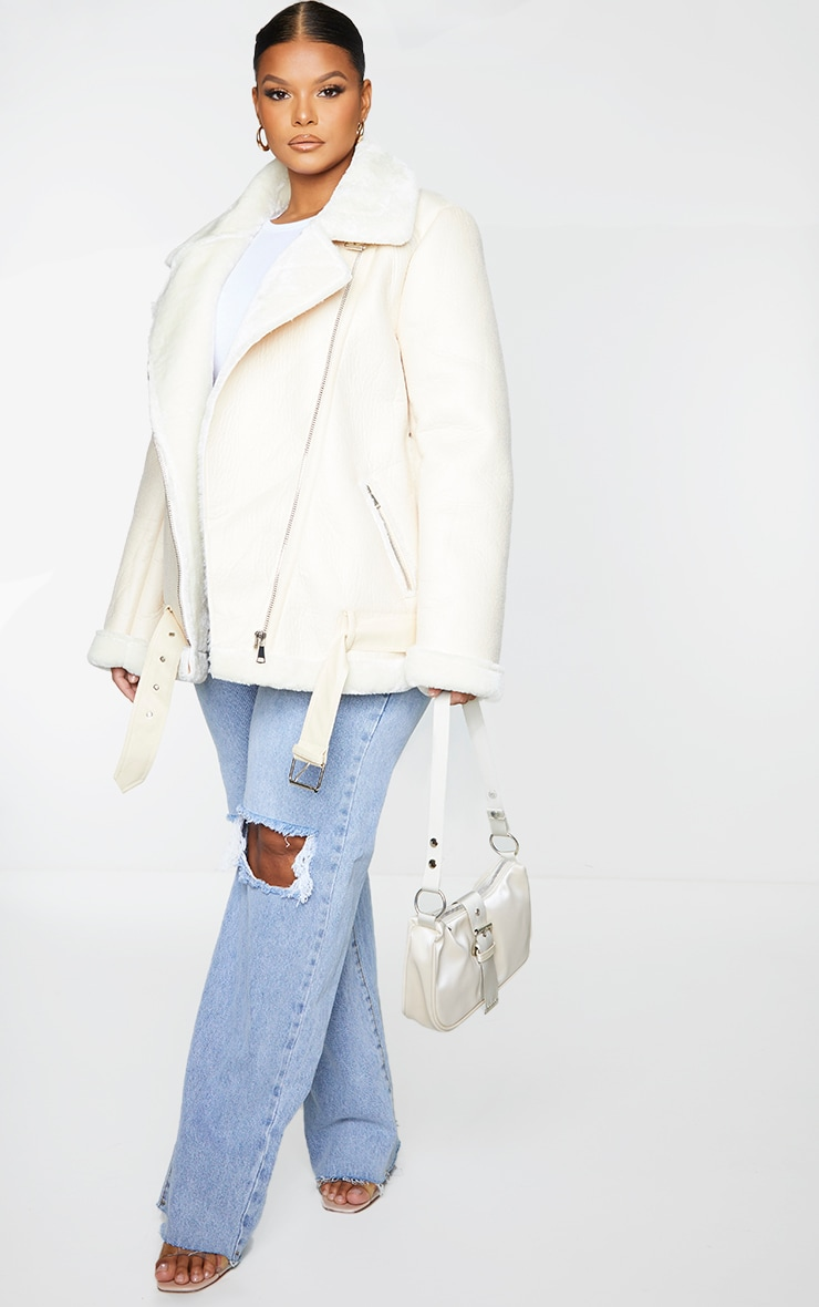 Plus Cream Oversized PU Aviator 3