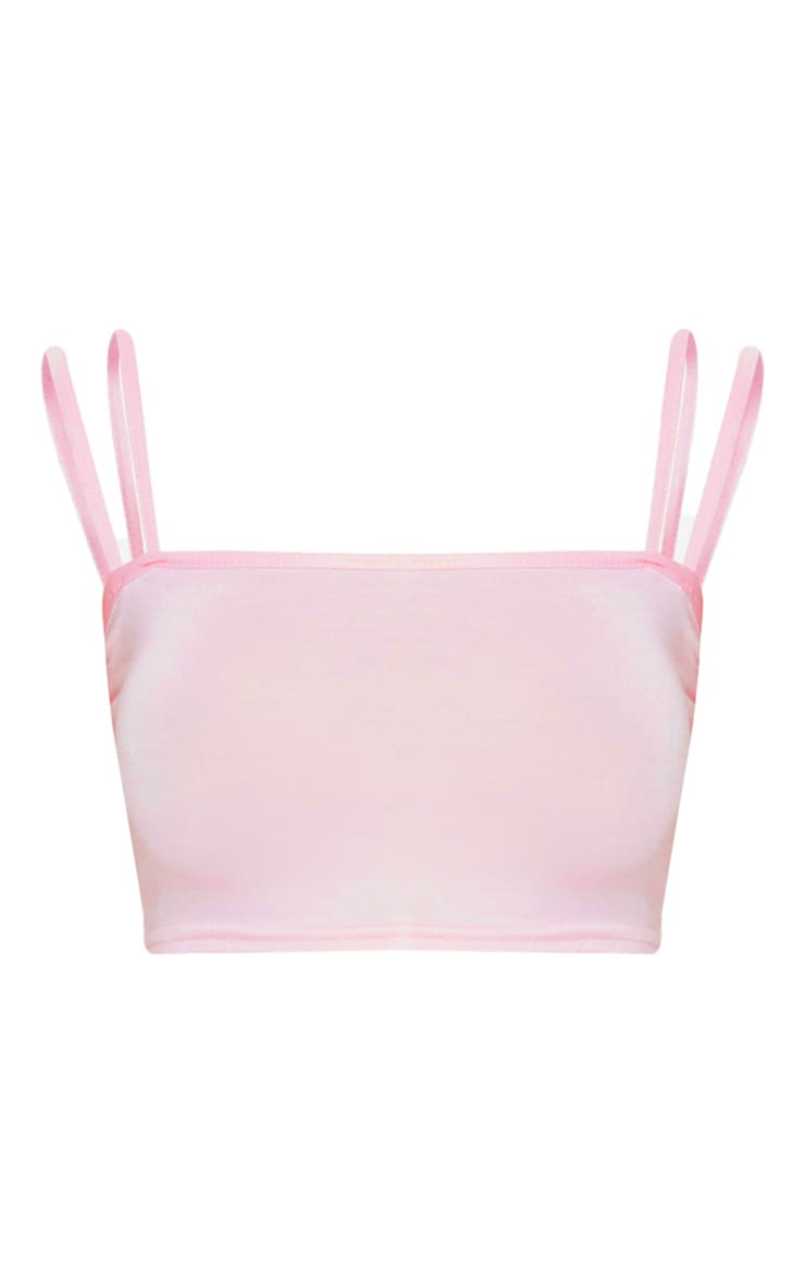 Baby Pink Jersey Double Strap Crop Top 3