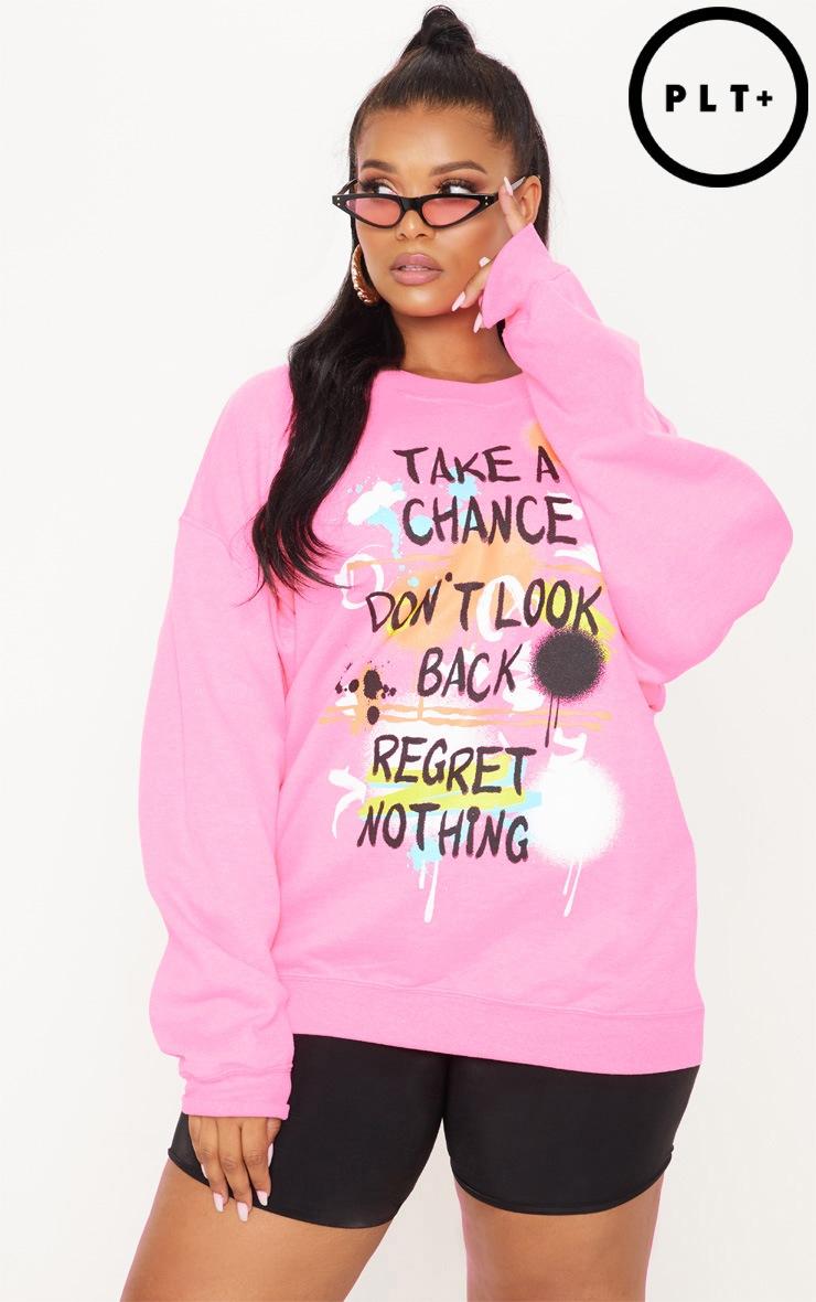 Plus Neon Pink Chance Slogan Sweater