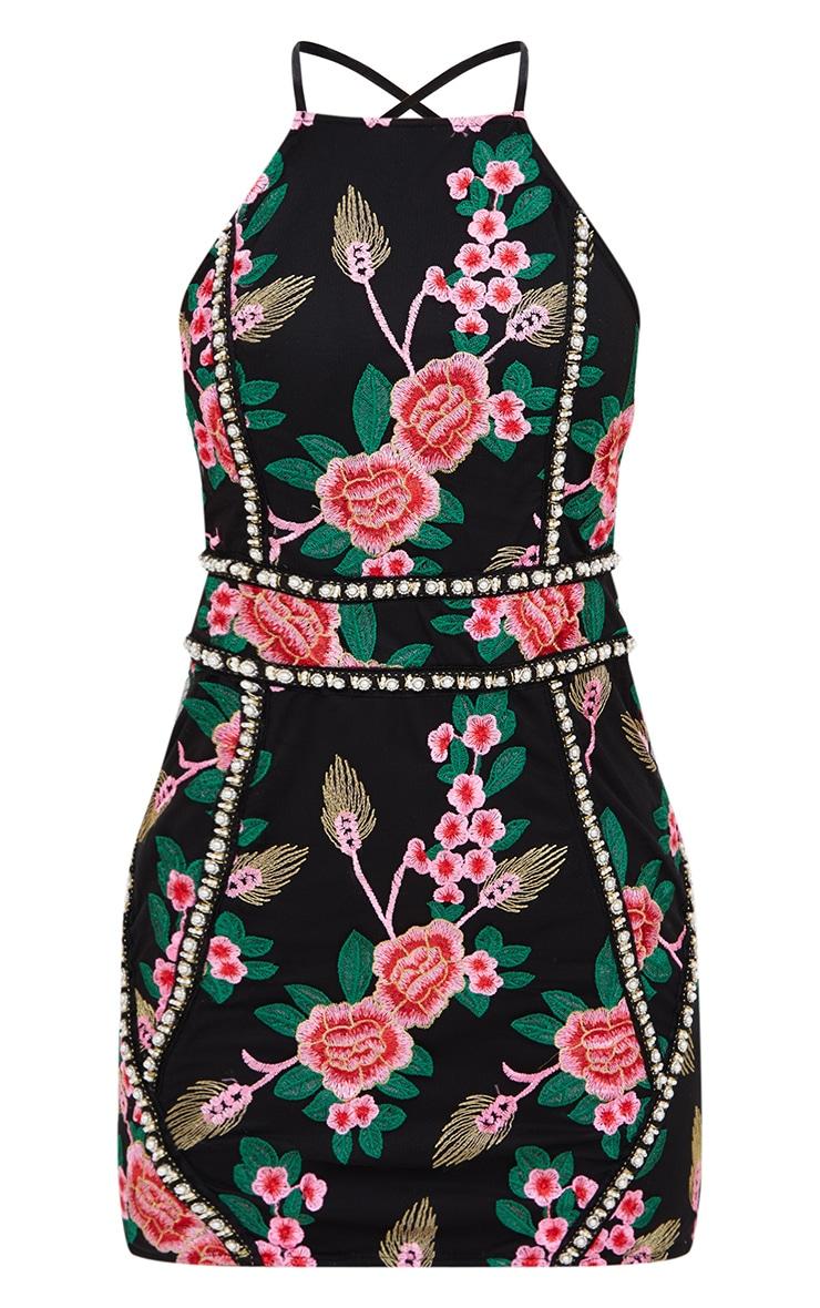 Premium Black Embroidered Bodycon Dress 4