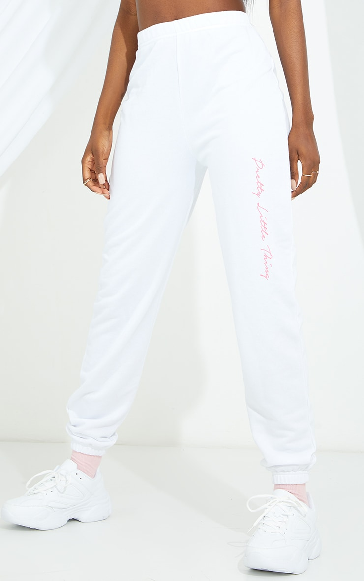 PRETTYLITTLETHING Tall White Basic Joggers 2