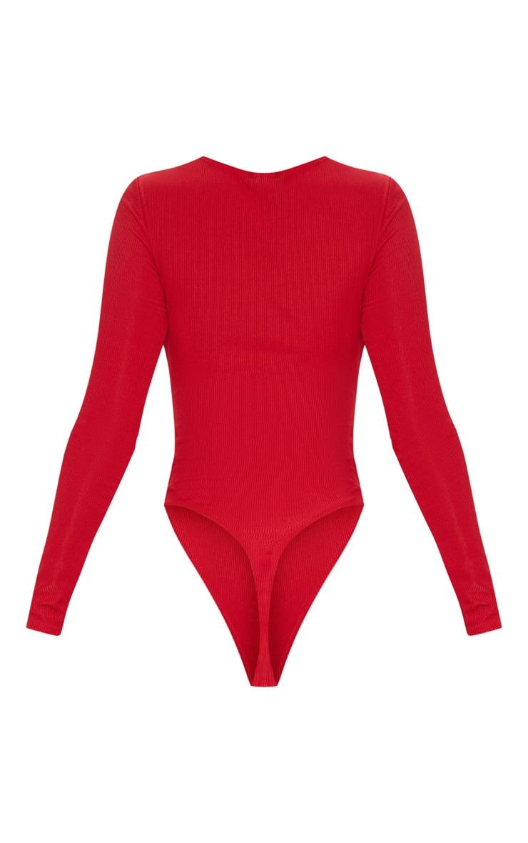 Red Long Sleeve Rib Popper Bodysuit 4
