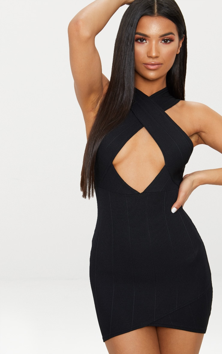 Black Bandage Cross Neck Bodycon Dress 1
